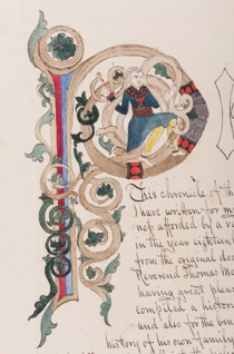 Illuminated letter 'P' painted by Thomas.