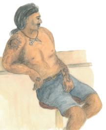 Moana Vong, a Marquesan crewman with warrior tattoos, from Fatu Hiva.